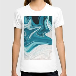 Abstract painting blue T-shirt