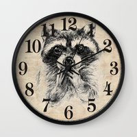 rocket raccoon Wall Clocks featuring Surprised raccoon by Anna Shell