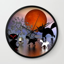mooncats and the aliens Wall Clock