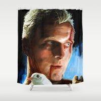 blade runner Shower Curtains featuring Roy  (Blade Runner) by  JESUS TORRADO TORO (jarttoro)
