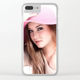 Fashion Illustration Pink Hat Close Up Clear iPhone Case