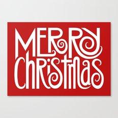 Merry Christmas Text White Canvas Print