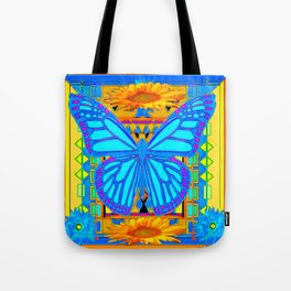 Baby Blues Butterfly Gold Art Tote Bag