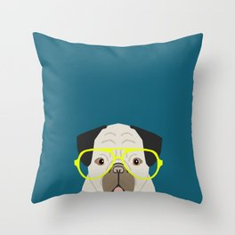 Emerson - Pug with neon Hipster Glasses, Cute Retro Dog, Dog, Husky with Glasses, Funny Dog Throw Pillow
