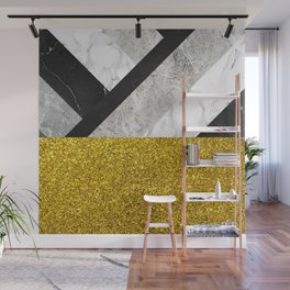 No First, No Last - metal geometric art, grey marble gradient and golden shimmer Wall Mural