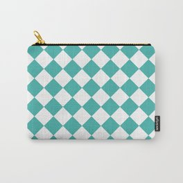 Diamonds - White and Verdigris Carry-All Pouch