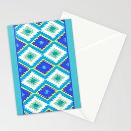 Turkish carpet yellow blue green. Patchwork mosaic oriental kilim rug Stationery Cards