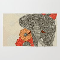animals Area & Throw Rugs featuring The Elephant by Valentina Harper