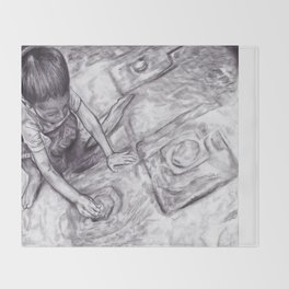 Boy With A Coin Throw Blanket