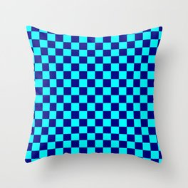 Cyan and Navy Blue Checkerboard Throw Pillow