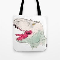 jurassic park Tote Bags featuring JURASSIC PARK by Gianluca Floris