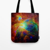 nebula Tote Bags featuring Orion NEBula  : Colorful Galaxy by 2sweet4words Designs
