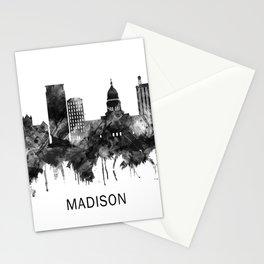 Madison Wisconsin Skyline BW Stationery Cards