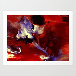 Abstract, Red, White, Violet, Black (CA17036C) Art Print
