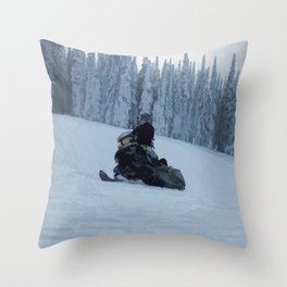 Snowmobiling Fool Throw Pillow
