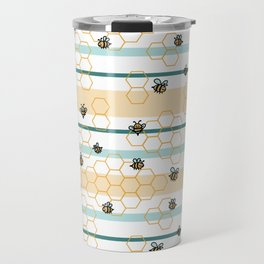 Bumble Bees in Striped and Honeycomb Hexagons Travel Mug