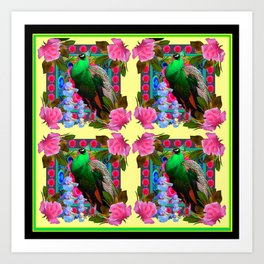 PINK ROSES & GREEN PEACOCK YELLOW GARDEN FLORAL ABSTRACT Art Print