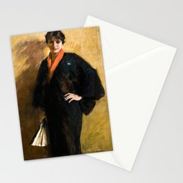 The Blue Kimono by William Merritt Chase - Vintage Victorian Retro Fine Art Oil Painting Stationery Cards