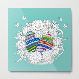 Easter ornamental eggs in the basket with flowers Metal Print