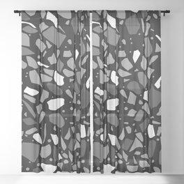 Terrazzo Spot Black 2 Sheer Curtain