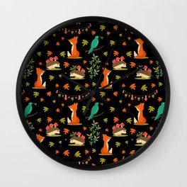 Autumn forest friends in black Wall Clock