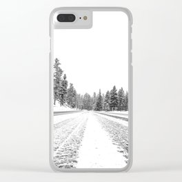 Snow Road // Snowy Winter Wonderland Black and White Landscape Photography Ski Poster Clear iPhone Case