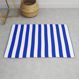 Cobalt Blue and White Vertical Beach Hut Stripe Rug