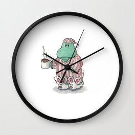 I need coffee; sleepy hippo illustration Wall Clock