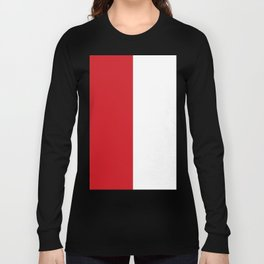White and Fire Engine Red Vertical Halves Long Sleeve T-shirt