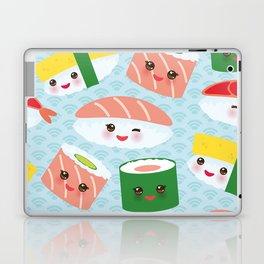 pattern Kawaii funny sushi rolls set with pink cheeks and big eyes, emoji Laptop & iPad Skin