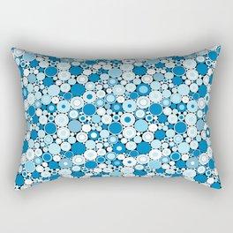 Abstract Blue and White Retro Radical Circle Pattern Rectangular Pillow