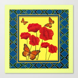 RED POPPIES ON CREAM ART TEAL DESIGN Canvas Print