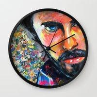 jared leto Wall Clocks featuring Jared Leto by Ilya Konyukhov