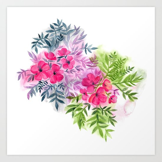 Dual Bouquets - a watercolor floral Art Print