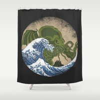hokusai Shower Curtains featuring Hokusai Cthulhu by Marco Mottura - Mdk7