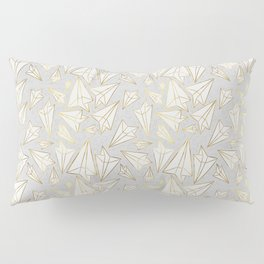 Paper Airplanes Faux Gold on Grey Pillow Sham