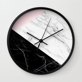 pink black and white geometric marble Wall Clock