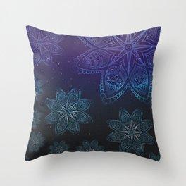 Blue night star sky Throw Pillow
