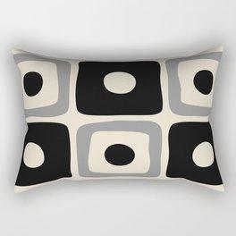Mid Century Modern Square Dot Pattern 593 Black and Gray Rectangular Pillow