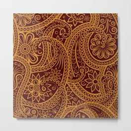 Oriental Persian Paisley, Swirls - Red Yellow Metal Print