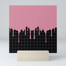 Dripping Pink Paint on Lines Mini Art Print