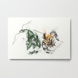 Green Arrow / Deathstroke - Watercolor Splatter Artwork Metal Print