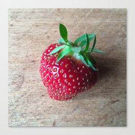 Lone Strawberry on the Cutting Board Canvas Print
