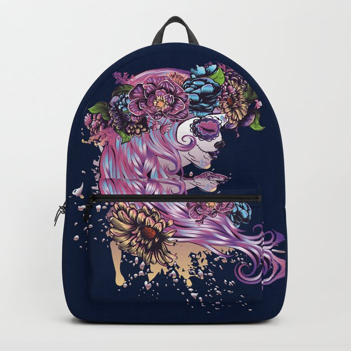 Sugar skull girl with pink hair in flower wreath Rucksack