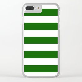 Royal green - solid color - white stripes pattern Clear iPhone Case