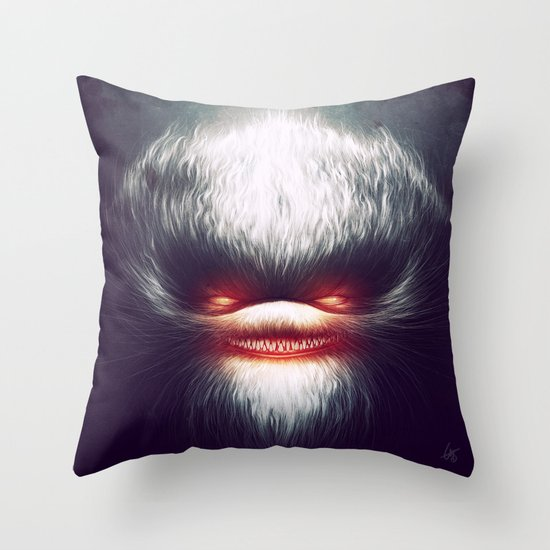 Furry Smile Throw Pillow