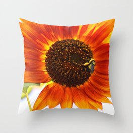 Buzzing the sunflowers Throw Pillow