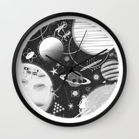 sport Wall Clocks featuring SPACE & SPORT by Kiley Victoria