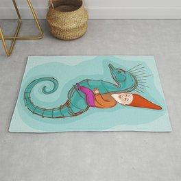 fairytale dwarf riding a seahorse Rug