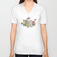 brussels V-neck T-shirts featuring Brussels buildings by zldrawings